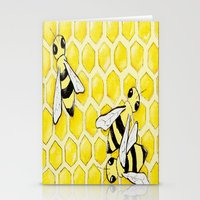 "bees Stationery Cards featuring ""Bees"" by Nicole Jolley"