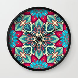 Colorful abstract ethnic floral mandala pattern design Wall Clock