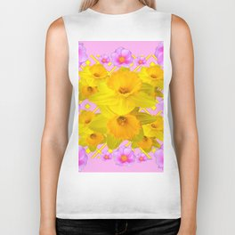 Yellow Daffodils & Pink Roses Abstract Biker Tank