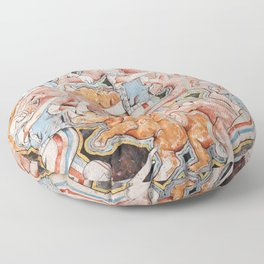 Rhinos and Elephants Having an Orgy while Baseball Players Hit Homers Floor Pillow