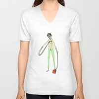 the office V-neck T-shirts featuring OFFICE WORKER by auntikatar