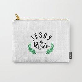 Matthew 28:6 he has risen.Christian Bible verse Carry-All Pouch