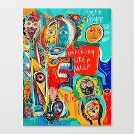 I'm hungry like a wolf Street Art Graffiti Canvas Print