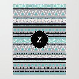 Monogram Tribal Pattern *Z* Poster