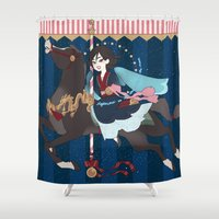 dark side of the moon Shower Curtains featuring Carousel: The Dark Side of the Moon by Lettie Bug