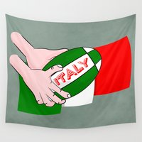 league Wall Tapestries featuring Rugby Italy by mailboxdisco