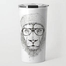 Cool lion (bw) Travel Mug