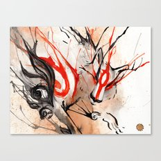 Okami Amaterasu Ink Canvas Print