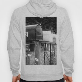 Black and white row of old road country us mailboxes Hoody