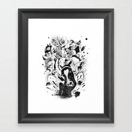 The Great Horse Race! B&W Edition Framed Art Print
