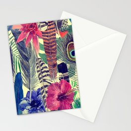 flowers and feathers Stationery Cards