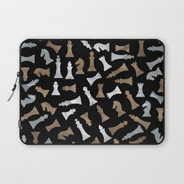 Chess Figures Pattern - Gold and pearl Laptop Sleeve