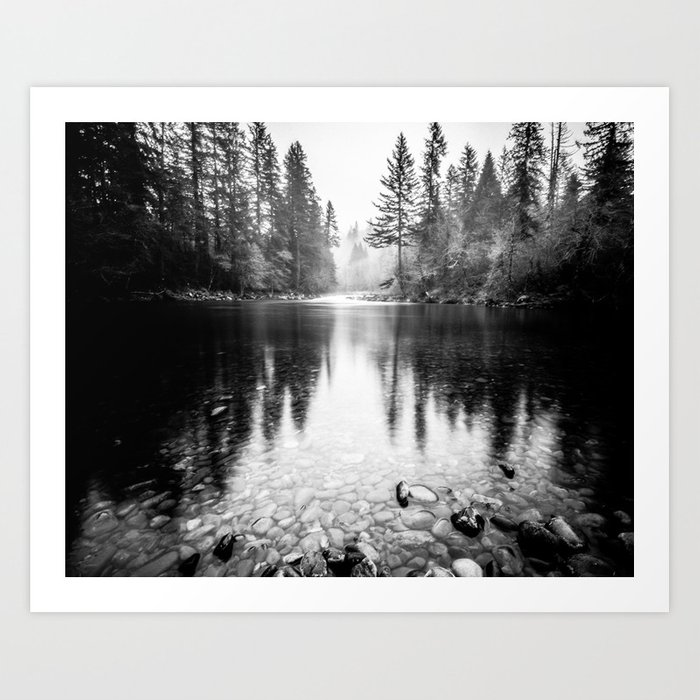 Forest Reflection Lake - Black and White  - Nature Photography Art Print