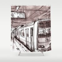 subway Shower Curtains featuring Subway by Jonas Ericson