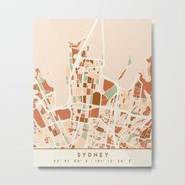 SYDNEY AUSTRALIA CITY MAP EARTH TONES Metal Print