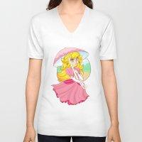 princess peach V-neck T-shirts featuring Princess Peach by zamii070