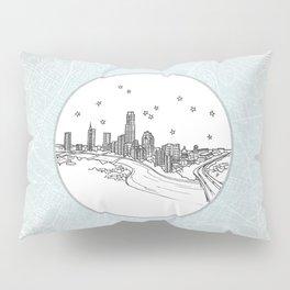 Austin, Texas City Skyline Illustration Drawing Pillow Sham