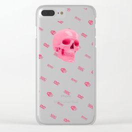 Pink skull with logos Clear iPhone Case