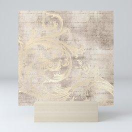 Cream Beige Florish Script Cursive Writing Collage Mini Art Print