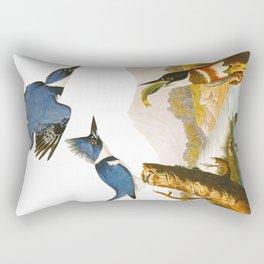 Belted Kingfisher John James Audubon Vintage Scientific Illustration American Birds Rectangular Pillow