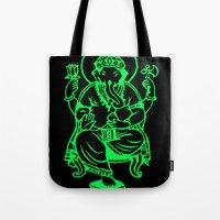 hindu Tote Bags featuring Hindu god by Littlefox