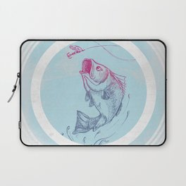 Bass jumping In Blue Circle3 Laptop Sleeve