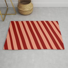 Dark Salmon & Dark Red Colored Striped/Lined Pattern Rug