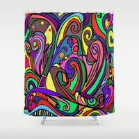 murakami Shower Curtains featuring Colors of Art mosaic tiles by Marcy Murakami