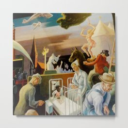 Classical Masterpiece 'A Social History of Indiana' by Thomas Hart Benton Metal Print