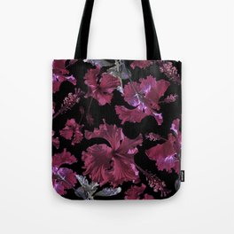 Hibiscus with black Tote Bag