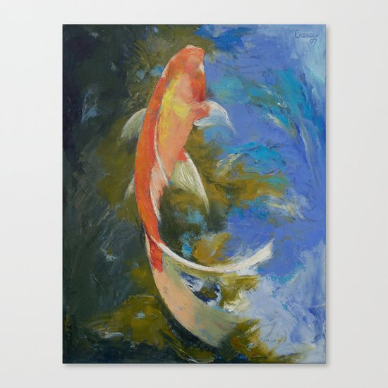 Butterfly Koi Painting Canvas Print
