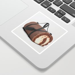 Sweet Chocolate Cream Roll // Ironic Junk Food Athletic Sports Gym Bag Designed by duffletrouble Sticker