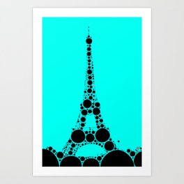 """Eiffel Tower Light Blue Background - from """"Further Back"""" series Art Print"""