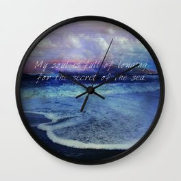 Sea Ocean quote by Longfellow Wall Clock
