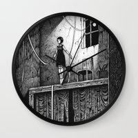 theatre Wall Clocks featuring Puppet Theatre by Michael Brack