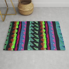 TROPICAL THUNDER 1980'S iNSPIRED MULTICOLOR PRINT Rug