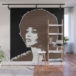 Angela Davis - Black Background Wall Mural