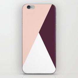 Elegant blush pink & burgundy geometric triangles iPhone Skin