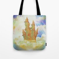 castle in the sky Tote Bags featuring castle in the sky by Ancello