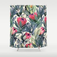cat coquillette Shower Curtains featuring Painted Protea Pattern by micklyn
