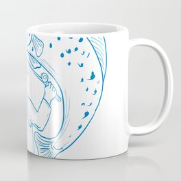 Fly Fisherman Trout Fishing Drawing Coffee Mug
