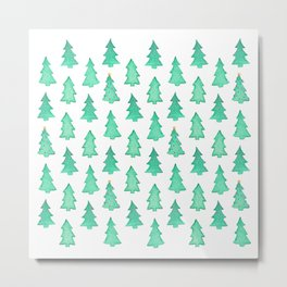 Christmas Trees With One Decorated Tree Metal Print