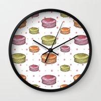 macaron Wall Clocks featuring Macaron print by Fashion Doodles