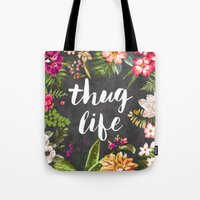 red Tote Bags featuring Thug Life by Text Guy
