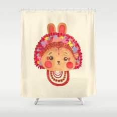 The Flower Crown Bunny Shower Curtain