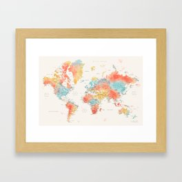 Colorful watercolor world map with cities Framed Art Print