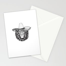 Lion Wild cat wearing sombrero mexico hat hand drawn illustration. Old classic vintage style illustration. Vintage lion king. Stationery Cards