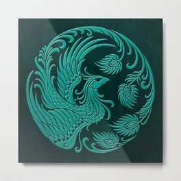 Traditional Teal Blue Chinese Phoenix Circle Metal Print