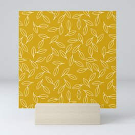 Line Art White Leaf on Mustard Yellow Background Mini Art Print