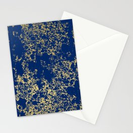 Navy Blue and Gold Patina Design Stationery Cards